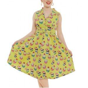 Lindy Bop Matilda Lime Green Cupcake Dress 10 US